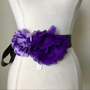 Double georgette flower purple iris sash belt